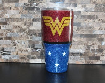 30oz. Wonder Woman Ozark Glitter Dipped Tumbler