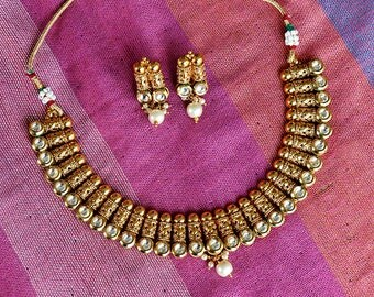 Gold Tone Earrings and Necklace Set | Kundan Jewelry | Indian Jewelry | Bollywood Jewelry