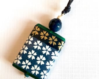 Handcrafted pendant in a gift card- blue, white and gold cherry blossom floral