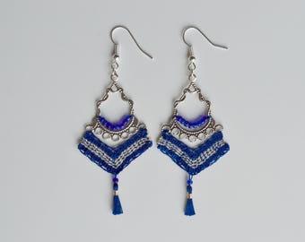 Earrings pearls and blue tassel