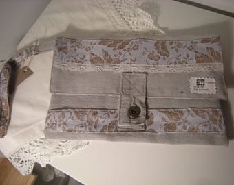 Vintage style recycled pants canvas pouch