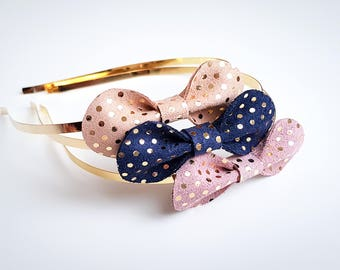 Leather with gold dots bow headband