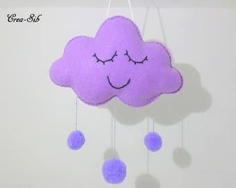 "Purple rain drop ""Cloud and tassels"" hanging"