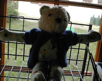 Fabric and stuffed bear handmade by me