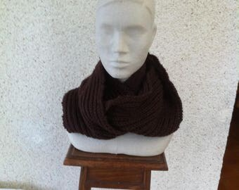 Plum soft and warm acrylic and wool Snood