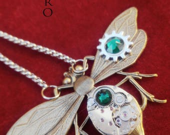 Green steampunk entomologist necklace - steampunk - steampunk Firefly - moth - mechanical Dragonfly - Dragonfly necklace dragonfly