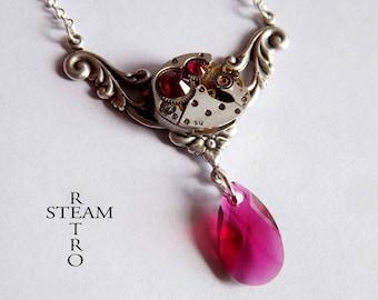 Rococo inspired Steampunk necklace - Steampunk jewelry - gift box - Swarovski Ruby Crystal Necklace