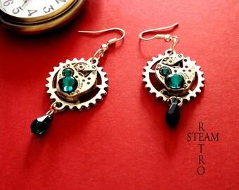 Emerald Swarovski Stud Steampunk earrings
