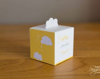 Box dragees - Theme clouds yellow & gray - boy baptism