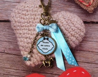 Keychain personalized horse, personalized with text or photo of your choice. Blue