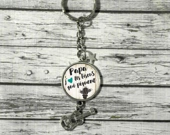 Personalized cabochon dad Keychain fathers day Dad gift idea