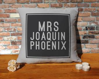 Joaquin Phoenix Pillow Cushion - 16x16in - Grey