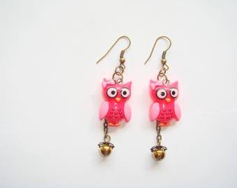 Red resin OWL earrings