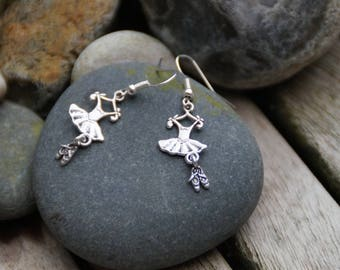 Earrings silver in the form of dance tutu and ballet shoes