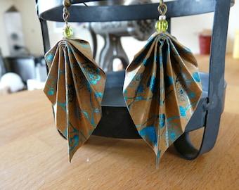 Origami earrings turquoise swirls printed kraft paper