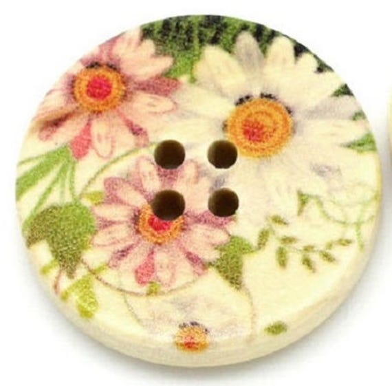 BBR30222 - 2 BUTTONS ROUND 30 MM WOODEN PATTERN WITH COLORS