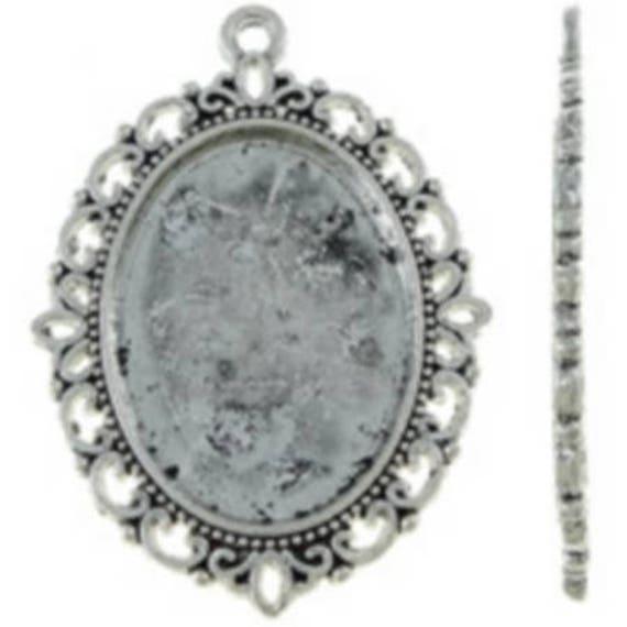 Support Cabochon retro 18 x 24 mm color silver