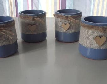 set of 4 jars in Earth clay