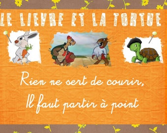 """The moral under your dishes with these place mats """"Fables of la Fontaine"""""""