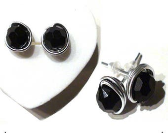 Earrings Silver 925/1000. chips with black stones