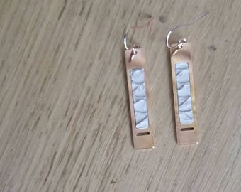 """""""rectangle"""" rose gold plated brass and Tan Leather earrings"""