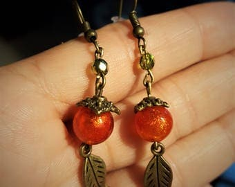 Earrings Pearl leaf and orange