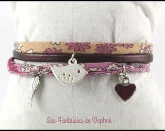 Bracelet pink and salmon libertu fabric