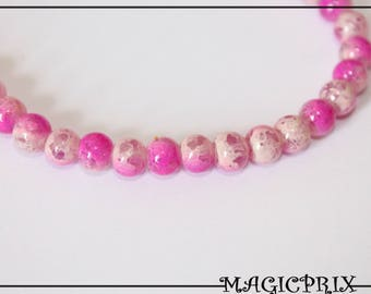 Set of 20 stained 1382 10 mm Fuchsia & Cream marble glass beads