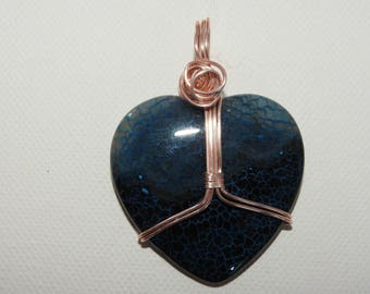Agate heart wire wrapped pendant