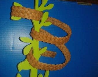 Leather strap braided calf fat barenia width 2 cm