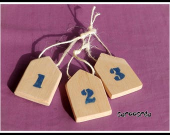 Decorative wooden house hanging set x 3