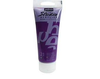 "Acrylic painting 100 ml ""Eastern purple"" High Viscosity - Pébéo Studio Acrylics - Ref 831-021"