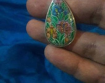 Kashmiri hand-painted pendant on sterling silver