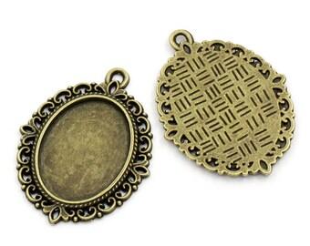 Set of 10 pendants 25 x 18 mm bronze