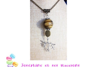 Necklace Tiger eye and roots
