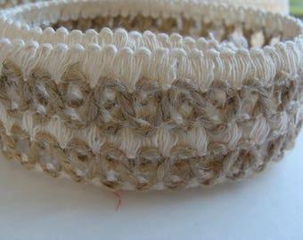 Fabric Ribbon Hessian natural width 4 cm ruler