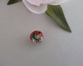 Color red diameter 10 mm cloisonné bead
