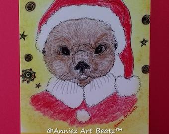 Christmas greeting card/hand drawn card/beaver