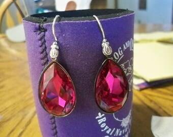 BIG Fun Fuchsia Swarvoski Crystal Earrings  30x20 mm  BS12