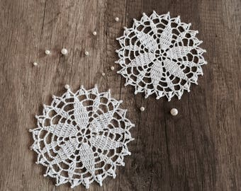 Set of two crochet small, white doilies, set of crochet coasters