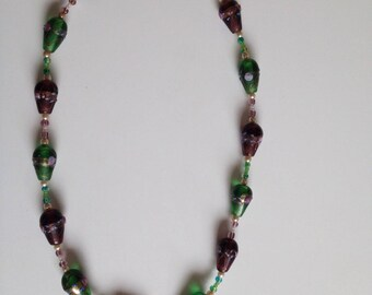 Green and purple Venetian glass beaded necklace
