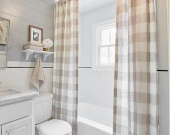 Shower Curtain Buffalo Check Natural Plaid White Country Various Colors Extra Long Sizes Farm House Bath
