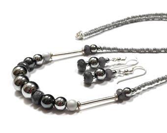 Hematite, Jadeite and Swarovski pearls Set