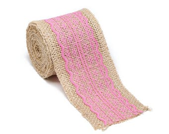 """2.5"""" Wide x 10 Yards Long Natural Burlap Craft Ribbon with Lace (Jute Ribbon, Burlap Tape, Rustic Decor) with Pink Lace"""