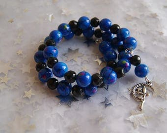 Blue and black memory Wire Bracelet