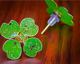 Four Leaf Clover Lucky Stud Earrings, Green Gold Glitter Earrings, Handmade Nail Polish Jewelry, Good Luck Gift for Friend, St. Patricks Day
