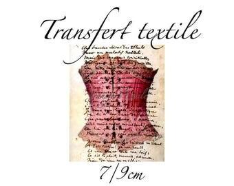 Transfer textile vintage bustier corset retro manuscript 7 / 9cm