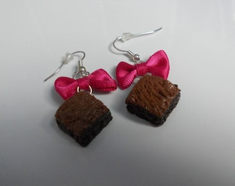 Earrings - Brownies chocolate Fimo