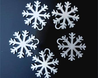 Set of 5 snowflakes in silver #2525