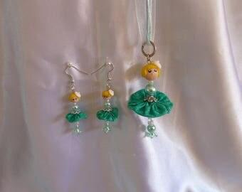 Cute miniature doll Leonie and earrings